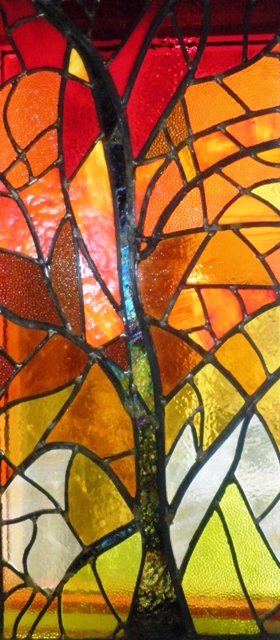 Leaded Stained Glass Winter Sunshine Panel