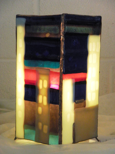 colourful lamp made with fused glass