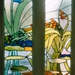 Inspired by the clients garden, a contemporary leaded stained glass design for a front door