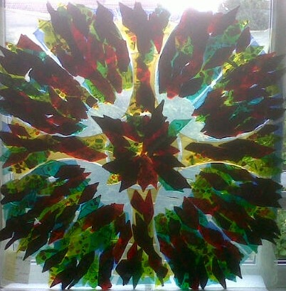 Fused Glass panel inspired by leaves and trees 1mx1m