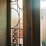 Frank Lloyd Wright inspired leaded stained glass window