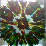 Fused glass commissioned wall hanging 1mx1m