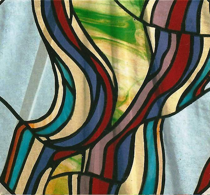 """""""Handbag"""" leaded stained glass panel"""