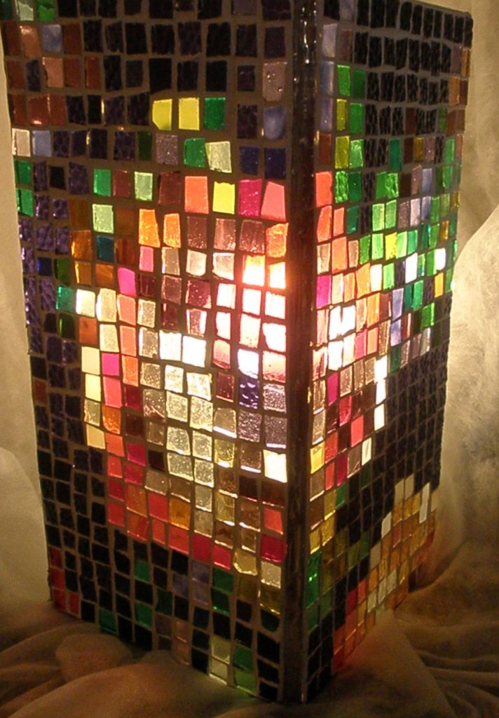 Depixellated Rose, stained glass mosaic lamp 15x15x30