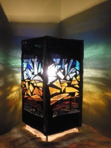 african sunset lamp mosaic 20x10x10
